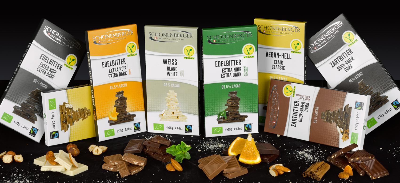 Verpackungsdesign Chocolat Schoenenberger